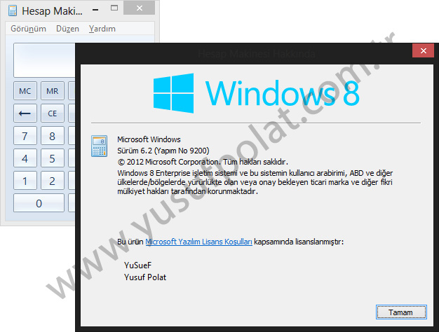 Windows 8 Hesap Makinesi Yardim Menüsü