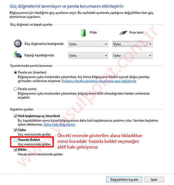 Windows 8.1 Hazırda Beklet Seçeneğini Aktif Etme
