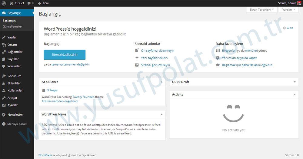 Wordpress 3.8 Ekran Görüntüsü