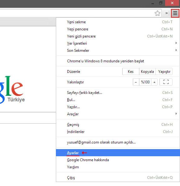Chrome Masaüstü Bildirimlerini Kapatma