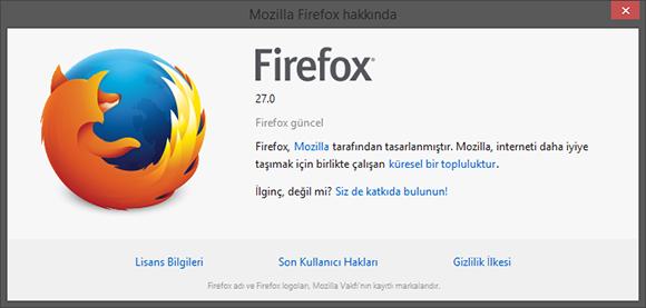 Mozilla Firefox 27 Çıktı