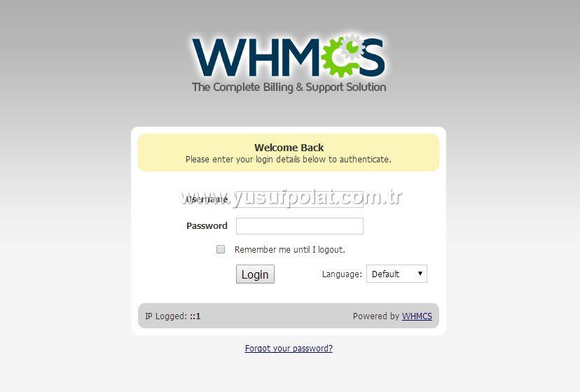 Whmcs v5.3.3 Admin Paneli Giriş Ekranı
