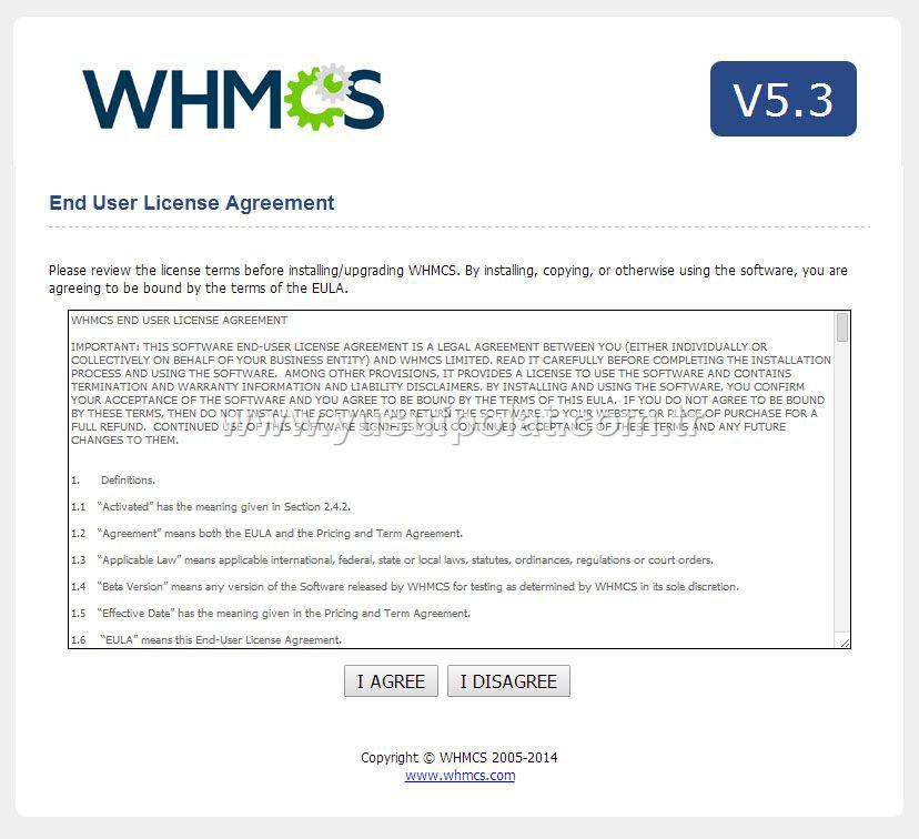 Whmcs v5.3.3 Upgrade Ekranı Adım 1