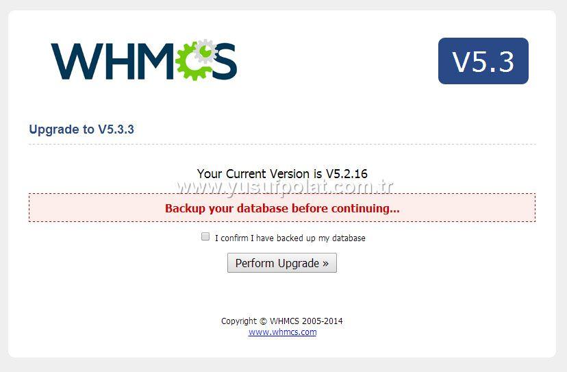 Whmcs v5.3.3 Upgrade Ekranı Adım 2