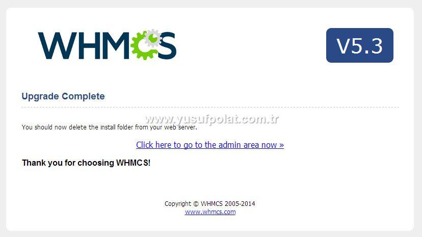 Whmcs v5.3.3 Upgrade Ekranı Adım 3
